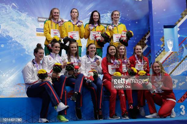 Gold medalists Australia silver medalists United States and bronze medalists Canada celebrate on the podium at the medal ceremony for the Women's...