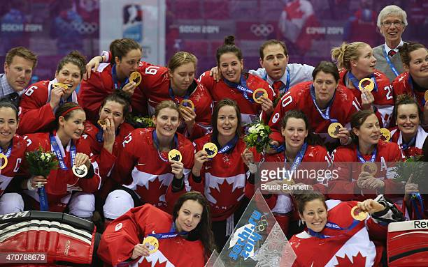 Gold medalists Canada celebrate after defeating the United States 32 in overtime during the Ice Hockey Women's Gold Medal Game on day 13 of the Sochi...