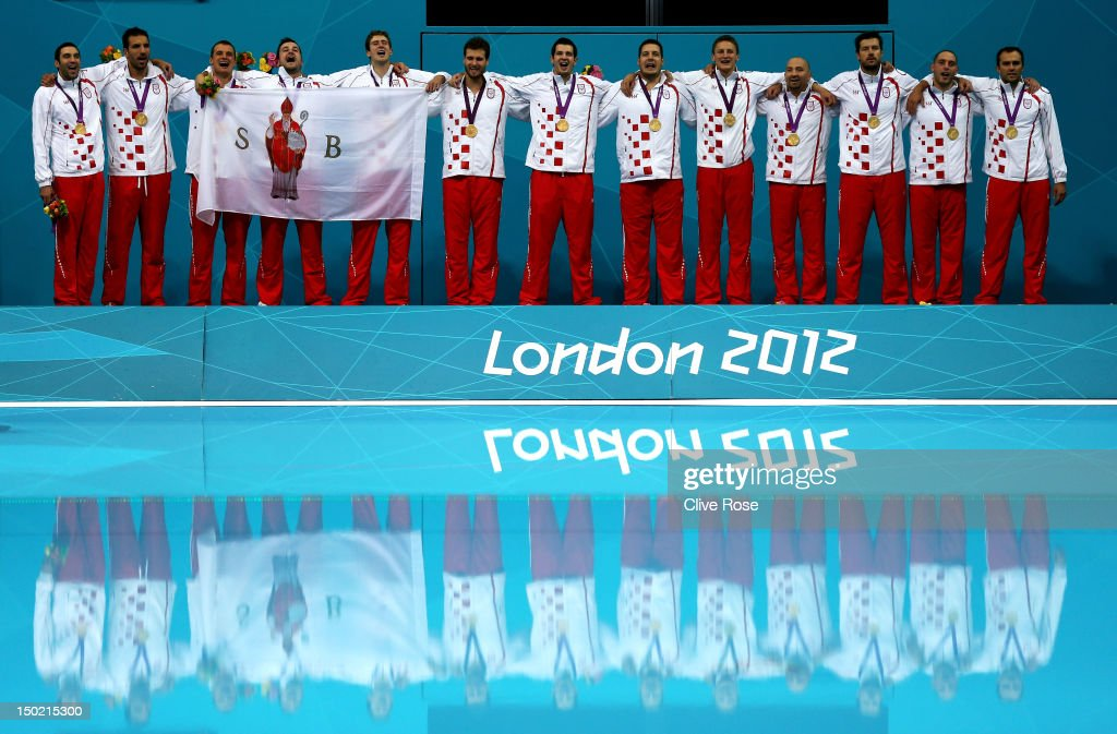 Gold medalists Croatia pose on the podium during the medal ceremony following the Men's Water Polo Gold Medal match between Croatia and Italy on Day 16 of the London 2012 Olympic Games at the Water Polo Arena on August 12, 2012 in London, England.