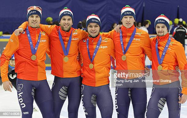 Gold medalists Daan Breeuwsma Sjinkie Knegt Adwin Snellink and Freek van der Wart of Netherlands pose for medal ceremomy in the Men's 5000M Relay...