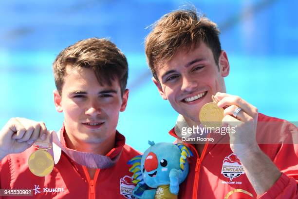 Gold medalists Daniel Goodfellow and Thomas Daley of England pose during the medal ceremony for the Men's Synchronised 10m Platform Diving Final on...