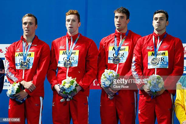 Gold medalists Daniel Wallace, Robert Renwick, Calum Jarvis and James Guy of Great Britain pose during the medal ceremony for the Men's 4x200m...