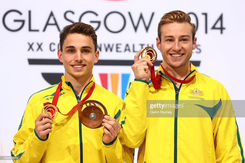Gold medalists Domonic Bedggood (L) and Matthew Mitcham of Australia pose during the medal ceremony in the Men's Synchronised 10m Platform Final at Royal Commonwealth Pool during day nine of the Glasgow 2014 Commonwealth Games on August 1, 2014 in Edinburgh, Scotland.