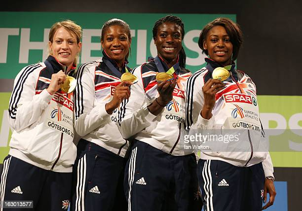 Gold medalists Eilidh Child Shana Cox Christine Ohuruogu and Perri ShakesDrayton of Great Britain and Northern Ireland pose during the victory...