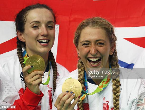 Gold medalists Elinor Barker and Laura Trott of Great Britain pose for photographs after the medal ceremony for the Women's Team Pursuit on Day 8 of...