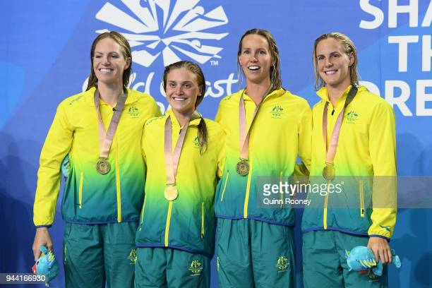 Gold medalists Emily Seebohm Georgia Bohl Emma McKeon and Bronte Campbell of Australia pose during the medal ceremony for the Women's 4 x 100m Medley...