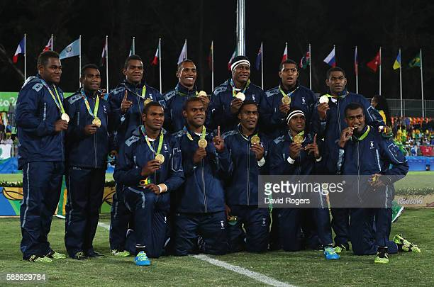 Gold medalists Fiji pose during the medal ceremony for the Men's Rugby Sevens on Day 6 of the Rio 2016 Olympics at Deodoro Stadium on August 11 2016...