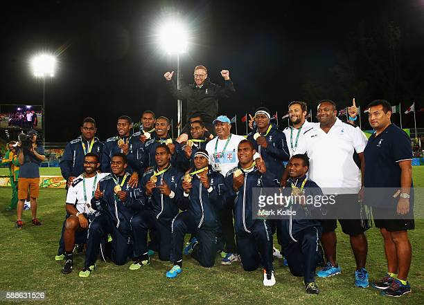 Gold medalists Fiji pose during the medal ceremony for the Men's Rugby Sevens on Day 6 of the Rio 2016 Olympics at Deodoro Stadium on August 11, 2016...
