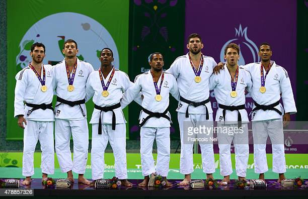 Gold medalists France pose with the medals won in the Men's Team finals during day sixteen of the Baku 2015 European Games at Heydar Aliyev Arena on...