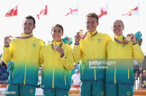 Gold medalists Gillian Backhouse Matthew Hauser Ashleigh Gentle and Jacob Birtwhistle of Australia celebrate during the medal ceremony for the Mixed...