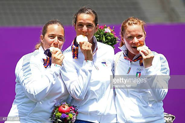 Gold medalists Guendalina Sartori Elena Tonetti and Natalia Valeeva of Italy pose with the medals in the Women's Archery Team final during day six of...