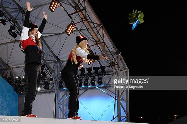 Gold medalists Heather Moyse and Kaillie Humphries of Canada team 1 celebrate during the medal ceremony for the Women's Bobsleigh on day thirteen of...