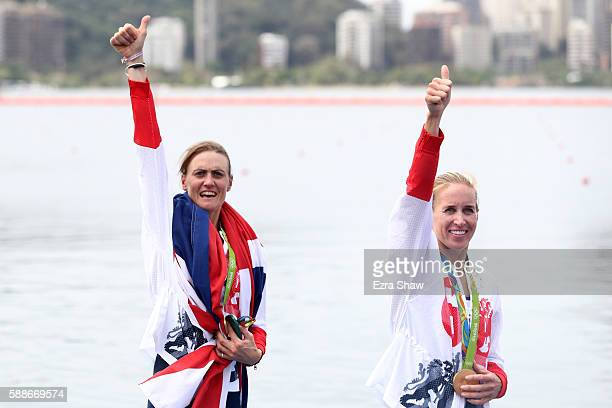 Gold medalists Helen Glover and Heather Stanning of Great Britain celebrate after the medal ceremony for the Women's Pair on Day 7 of the Rio 2016...