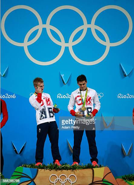 Gold medalists Jack Laugher and Chris Mears of Great Britain pose on the podium during the medal ceremony for the Men's Diving Synchronised 3m...