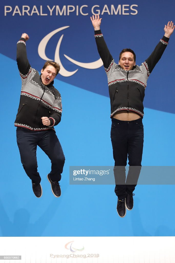 Gold Medalists Jakub Krako and his guide Branislav Brozman of Slovakia celebrate during the victory ceremony of the Men's Super-G Visually Impaired Alpine Skiing during day two of the PyeongChang 2018 Paralympic Games on March 11, 2018 in Pyeongchang-gun, South Korea.
