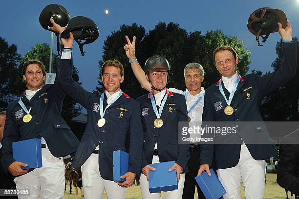 Gold medalists Julien Gonin Simon Delestre Alexandra Flancart Thierry Pomel and Olivier Guillon of France pose with their medals after the Team...