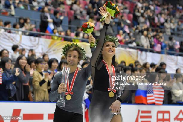Gold medalists Kaitlin Hawayek and JeanLuc Baker of the United States do a lap of honour after the Ice Dance Free dance during day three of the ISU...