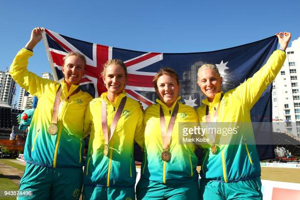 Gold medalists Kelsey Cotterell Carla Krizanic Rebecca van Asch and Natasha Scott of Australia pose after the victory ceremony for the Women's Fours...