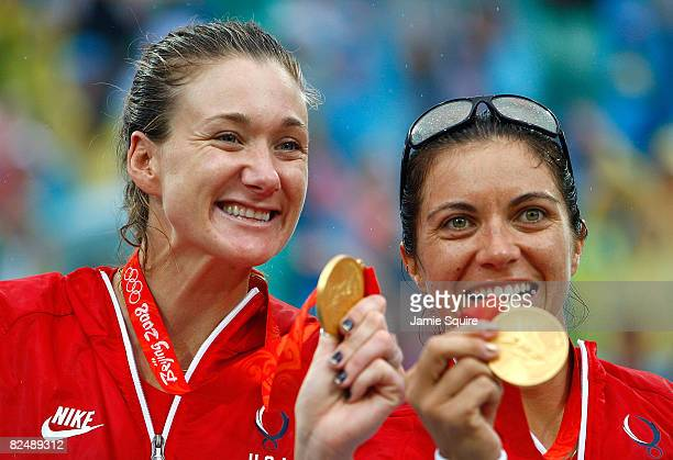 Gold medalists Kerri Walsh and Misty May-Treanor of the United States celebrate after winning the women's gold medal match against China held at the...