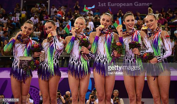 Gold medalists Ksenya Cheldishkina Maria Kadobina Valeriya Pischelina Arina Tsitsilina and Hanna Dudzenkova of Belarus pose with the medals won...