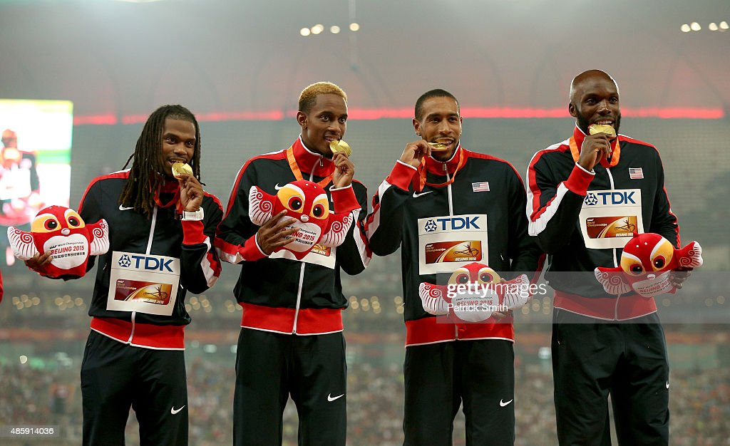 Gold medalists Lashawn Merritt of the United States, Bryshon Nellum of the United States, Tony McQuay of the United States and David Verburg of the United States pose on the podium during the medal ceremony for the Men's 4x400 Relay Final during day nine of the 15th IAAF World Athletics Championships Beijing 2015 at Beijing National Stadium on August 30, 2015 in Beijing, China.