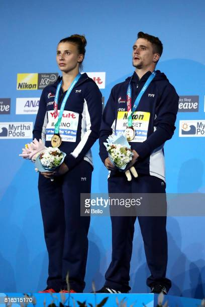 Gold medalists Laura Marino and Mattieu Rosset of France pose with the medals won during the Mixed Diving Team final on day five of the Budapest 2017...