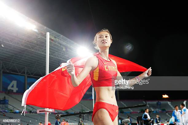 Gold medalists Li Ling of China celebrates after competing in the Women's Pole Vault Final on day eleven of the 2014 Asian Games at Incheon Asiad...