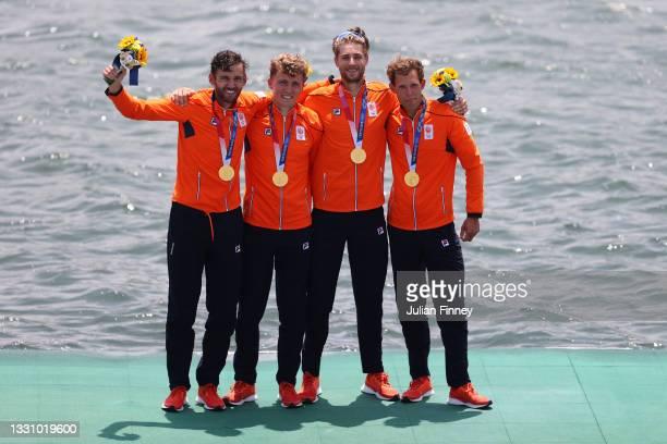 Gold medalists Lucas Theodoor Dirk Uittenbogaard, Abe Wiersma, Tone Wieten and Koen Metsemakers of Team Netherlands pose with their medals during the...