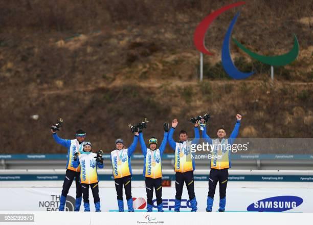 Gold medalists Lurii Utkin and his guide Ruslan Perekhoda Liudmyla Liashenko Yuliia BatenkovaBauman Oskana Shyshkova and her guide Vitaliy Kazakov of...