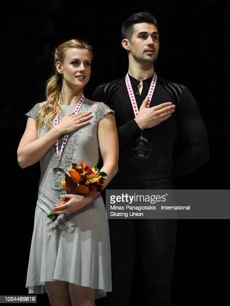 Gold medalists Madison Hubbell and Zachary Donohue of the United States pose with their medals on day two during the ISU Grand Prix of Figure Skating...