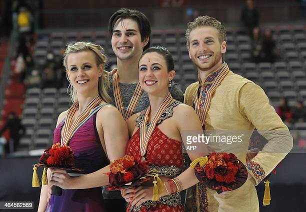 Gold medalists Madison Hubbell and Zachary Donohue of the US and bronze medalists Alexandra Aldridge and Daniel Eaton of the US pose for photographs...
