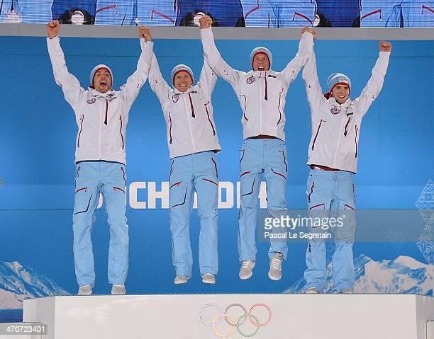 Gold medalists Magnus Hovdal Moan, Haavard Klemetsen, Magnus Krog and Joergen Graabak of Norway celebrate during the medal ceremony for the Nordic...