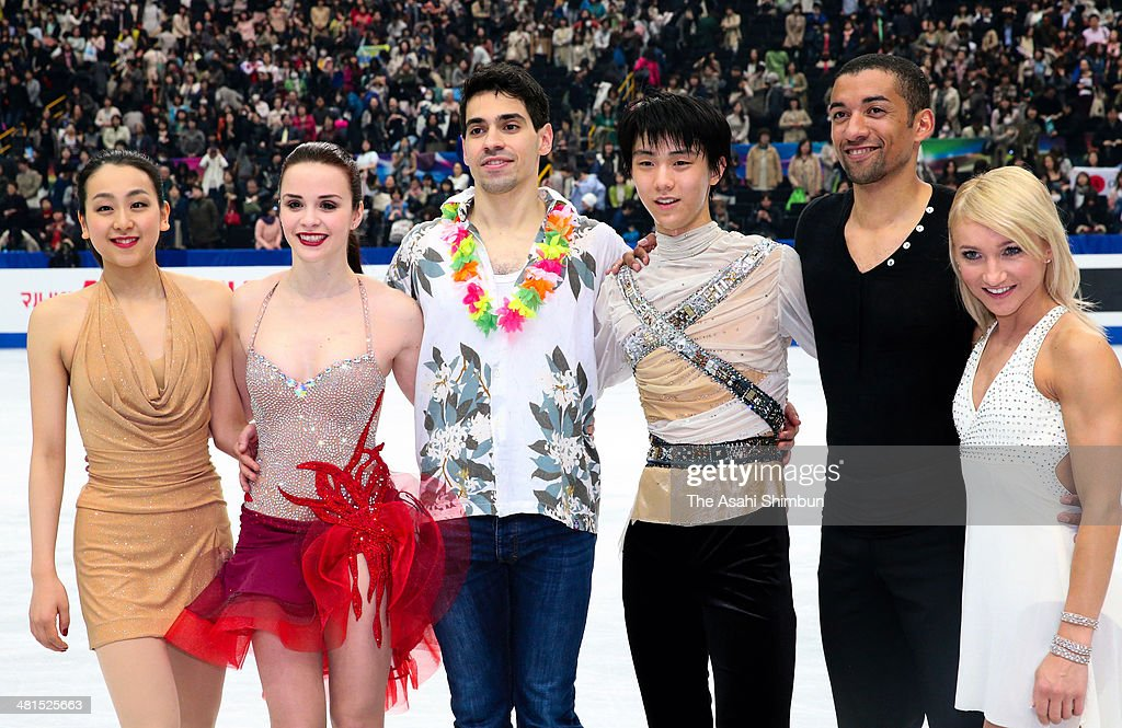 Gold medalists Mao Asada of Japan, Anna Cappellini and Luca Lanotte of Italy, Yuzuru Hanyu of Japan, Robin Szolkowy and Aliona Savchenko of Germany pose for photographs after the gala exhibition of the ISU World Figure Skating Championships at Saitama Super Arena on March 30, 2014 in Saitama, Japan.