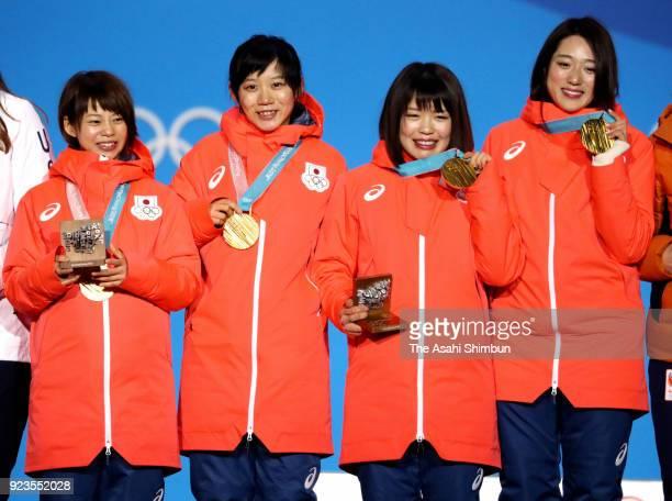 Gold medalists Miho Takagi Ayaka Kikuchi Ayano Sato and Nana Takagi of Japan celebrate during the medal ceremony for the Speed Skating Ladies' Team...