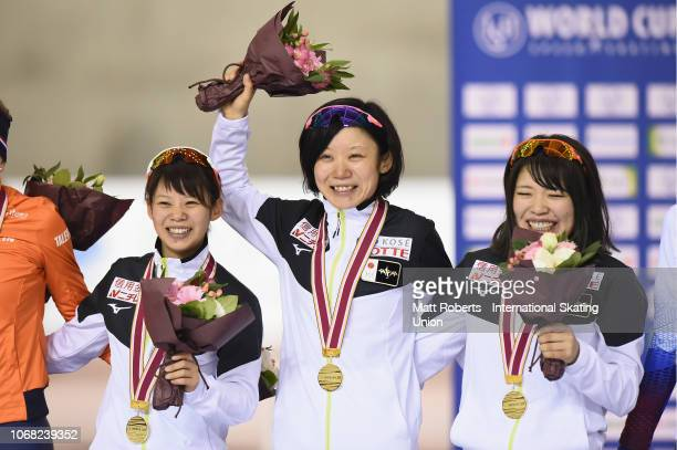 Gold medalists Miho Takagi Nana Tagaki and Ayano Sato of Japan during the medal ceremony of Women's Team Pursuit on day one of the ISU World Cup...
