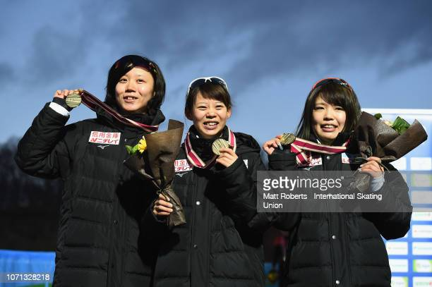 Gold medalists Miho Takagi Nana Takagi and Ayano Sato of Japan during the medal ceremony of the Women's Team Pursuit on day one of the ISU World Cup...