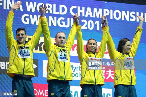 Gold medalists Mitch Larkin Matthew Wilson Emma McKeon and Cate Campbell of Australia pose during the medal ceremony for the Mixed 4x100m Medley...