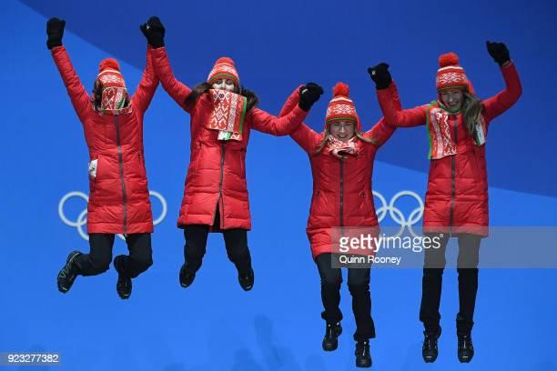 Gold medalists Nadezhda Skardino, Iryna Kryuko, Dzinara Alimbekava and Darya Domracheva of Belarus celebrate during the medal ceremony for Biathlon -...