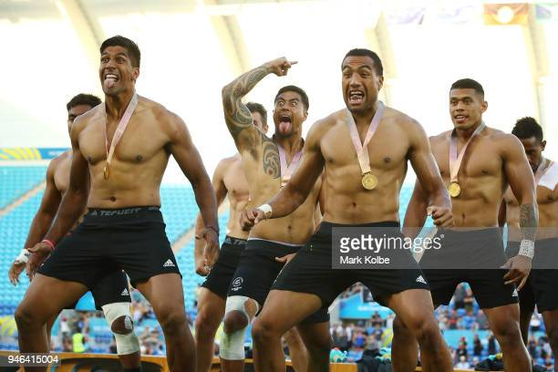 Gold medalists New Zealand perform a Haka during the medal ceremony for the Men's Gold Medal Rugby Sevens Match between Fiji and New Zealand on day...