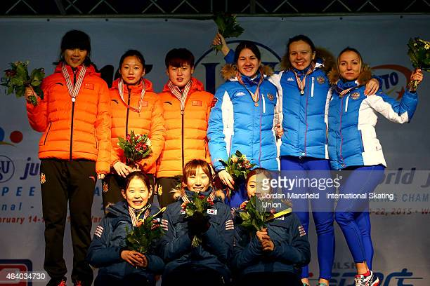 Gold medalists of Korea Silver medalists of China and Bronze medalists of Russia pose for a picture after winning the Women's Team Sprint during day...