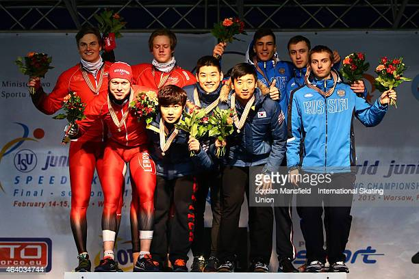 Gold medalists of Korea Silver medalists of Norway and Bronze medalists of Russia pose for a picture after winning the Men's Team Sprint during day...