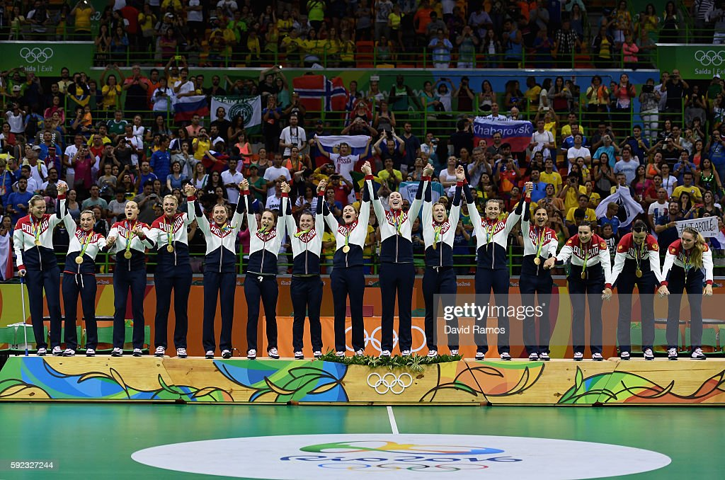 Gold medalists of Russia celebrate on the podium during the medal ceremony for the Women's Handball contest at Future Arena on Day 15 of the Rio 2016 Olympic Games at the Future Arena on August 20, 2016 in Rio de Janeiro, Brazil.