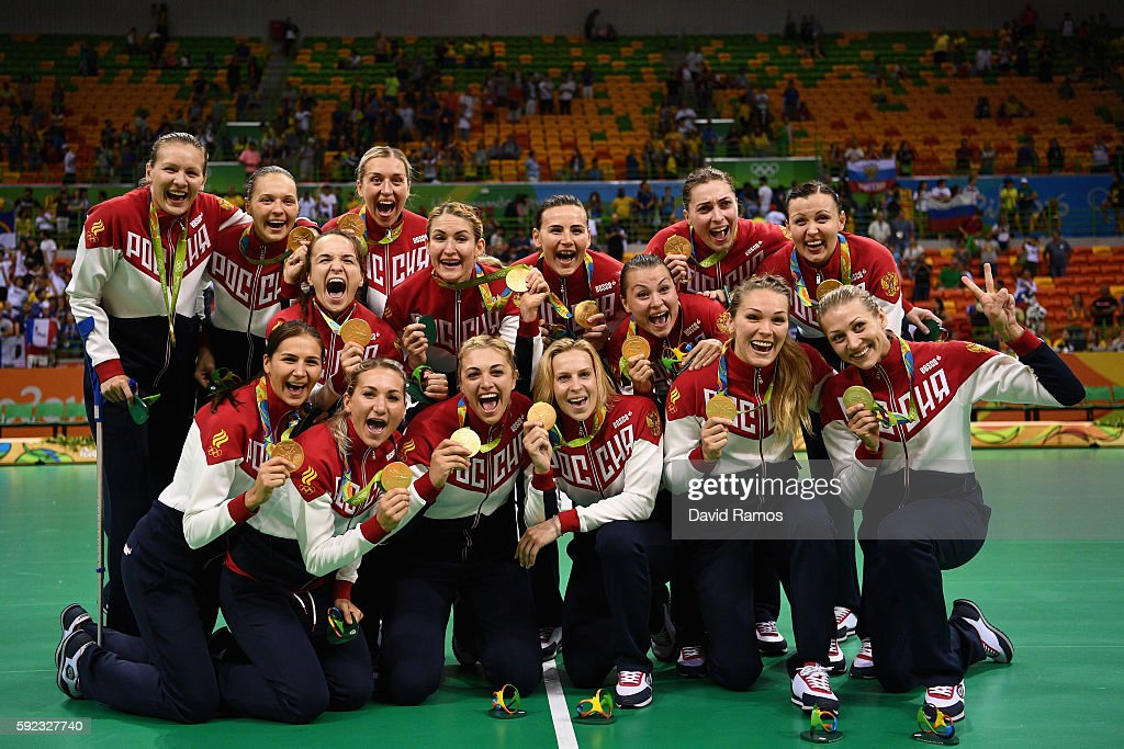 Gold medalists of Russia pose following the medal ceremony for the Women's Handball contest at Future Arena on Day 15 of the Rio 2016 Olympic Games at the Future Arena on August 20, 2016 in Rio de Janeiro, Brazil.