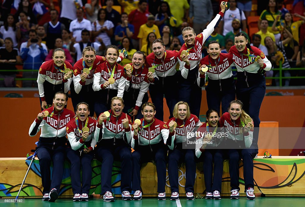 Gold medalists of Russia pose on the podium during the medal ceremony for the Women's Handball contest at Future Arena on Day 15 of the Rio 2016 Olympic Games at the Future Arena on August 20, 2016 in Rio de Janeiro, Brazil.