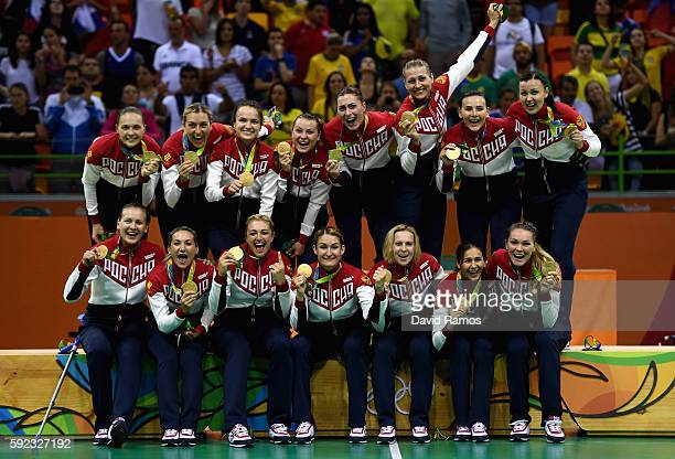 Gold medalists of Russia pose on the podium during the medal ceremony for the Women's Handball contest at Future Arena on Day 15 of the Rio 2016...
