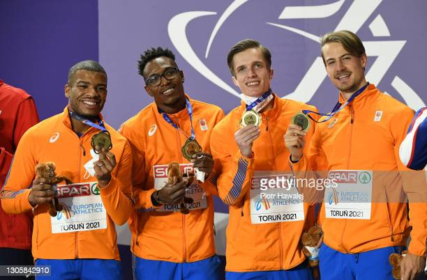 Gold medalists of Team Netherlands pose for a photo during the medal ceremony for Men's 4 x 400 Metres Relay during the second session on Day 3 of...