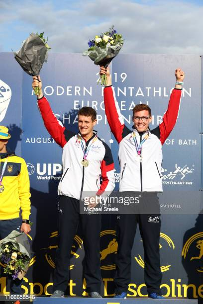 Gold medalists Oliver Murray and Myles Pillage of Great Britain celebrates on the podium after winning the Men's Team Relay discipline during Day 2...