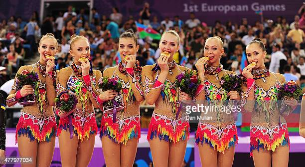 Gold medalists Russia stand on the podium during the medal ceremony for the Rhythmic Gymnastics Group Ribbon final on day nine of the Baku 2015...