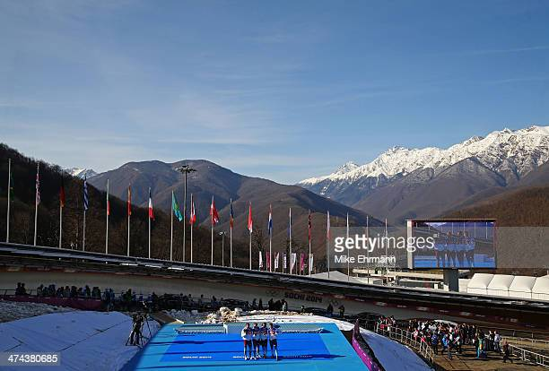 Gold medalists Russia team 1 celebrate during the medal ceremony for the FourMan Bobsleigh on Day 16 of the Sochi 2014 Winter Olympics at Sliding...