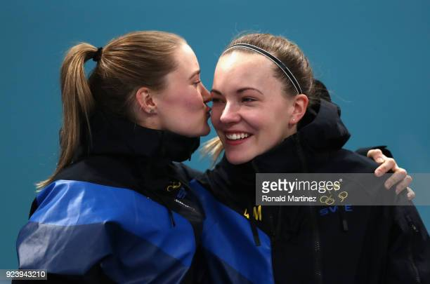 Gold medalists Sara McManus of Sweden and Agnes Knochenhauer of Sweden celebrate during the Women's Gold Medal Game between Sweden and Korea on day...